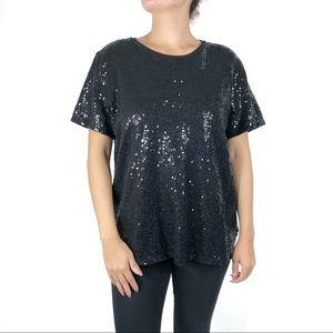 DKNY Black Sequin Short Sleeve Tee  Extra Large
